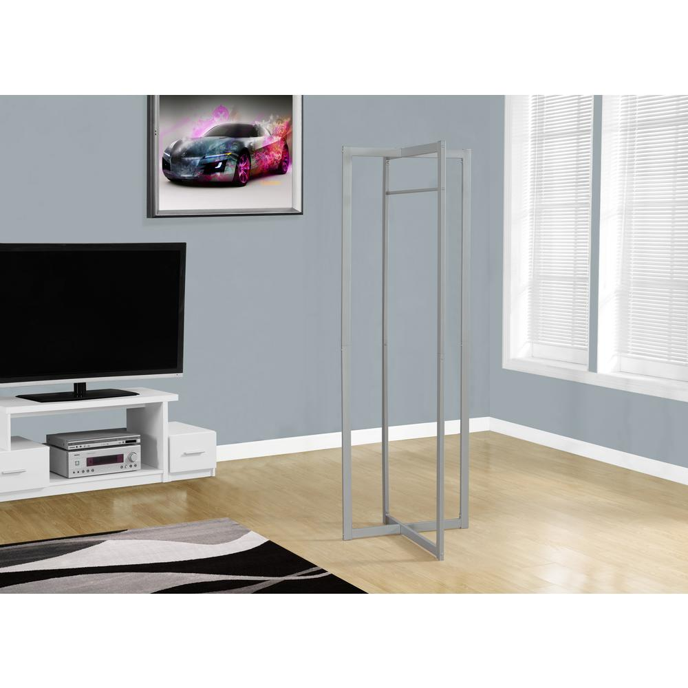 Silver 0-Hook Coat Rack