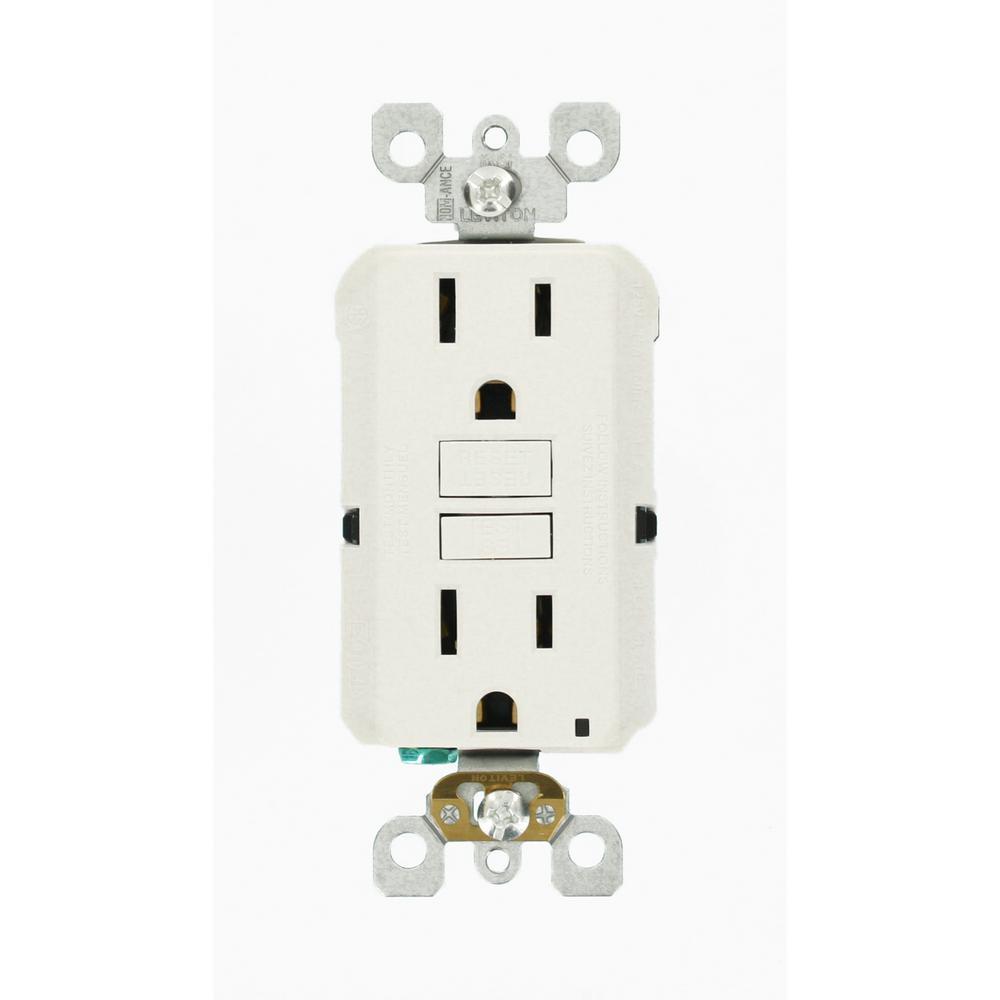Leviton 15 Amp 125-Volt Duplex Self-Test Slim GFCI Outlet, White (6 ...