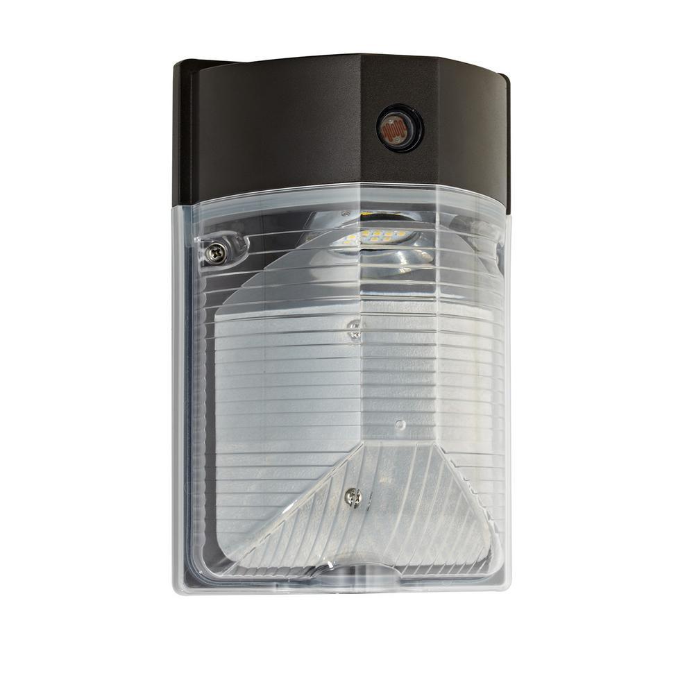 12-Watt Dark Bronze Outdoor Integrated LED Dimmable 120-277V Dusk to Dawn Mini Wall Pack Light DayLight 5000K 10146