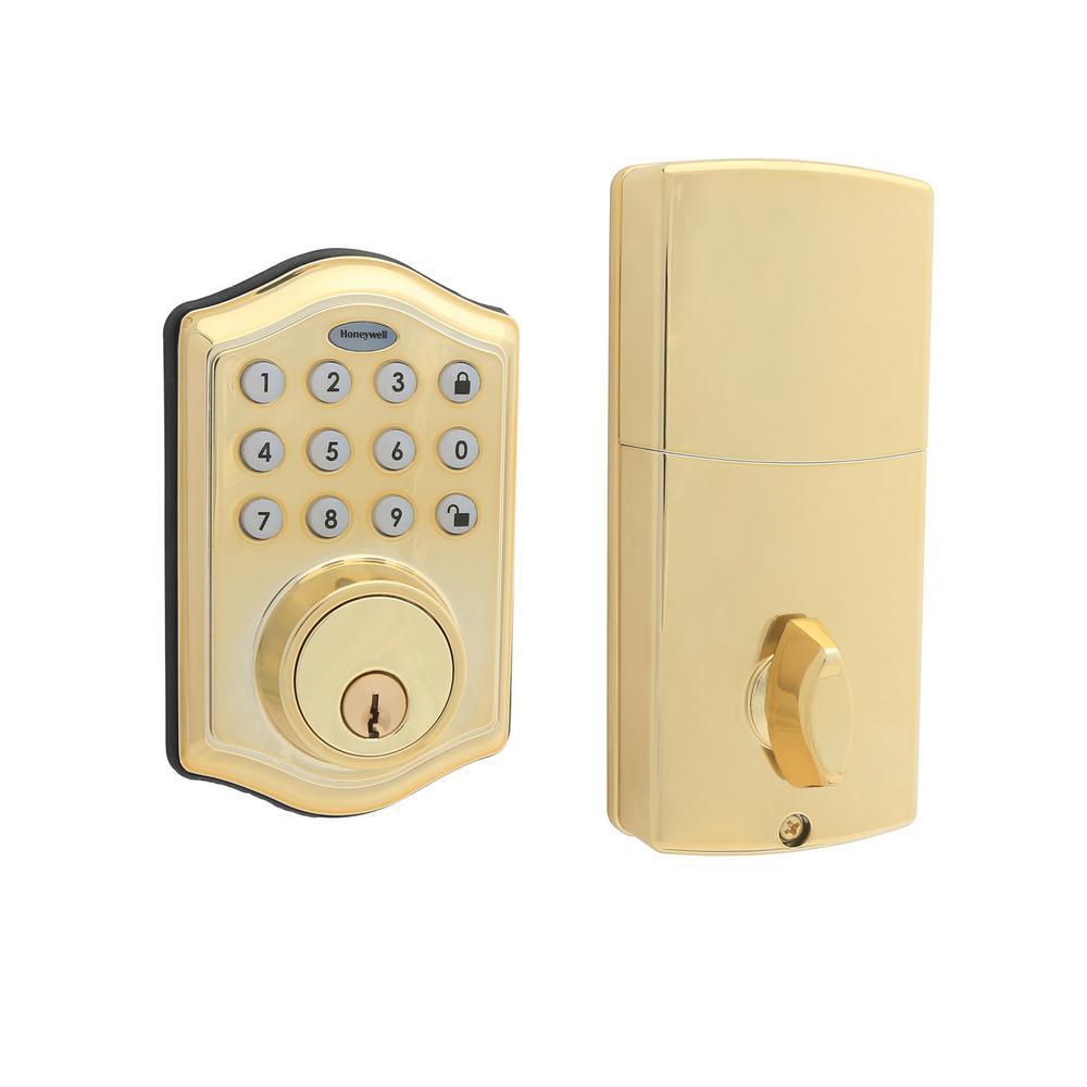 Electronic Keypad Polished Brass Single Cylinder Deadbolt Lock