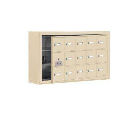 19100 Series 37 in. W x 20 in. H x 6.25 in. D 14 Doors Cell Phone Locker S-Mount Keyed Locks in Sandstone