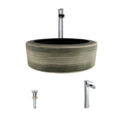 Ceramic Vessel Sink in Gray and Black with 731 Faucet and Pop-Up Drain in Chrome