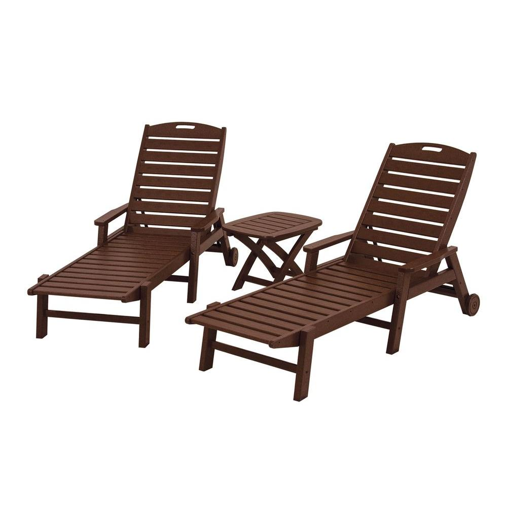 POLYWOOD Nautical Mahogany 3-Piece Patio Chaise Set