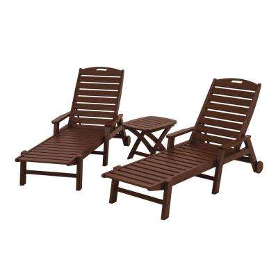 Nautical Mahogany 3 Piece Plastic Outdoor Patio Chaise Set