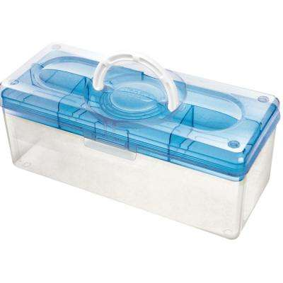 13.8 in. x 6 in. Hobby and Crafts Portable Storage Box with Removable Top Organizer Tray in Blue
