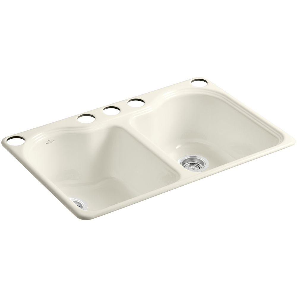 Hartland Undermount Cast-Iron 33 in. 5-Hole Double Bowl Kitchen Sink in
