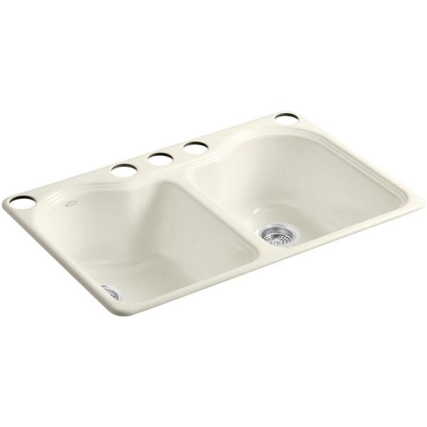 Hartland Undermount Cast-Iron 33 in. 5-Hole Double Bowl Kitchen Sink in Biscuit