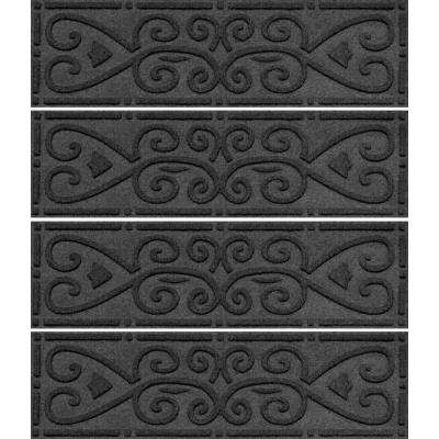 Charcoal 8.5 in. x 30 in. Scroll Stair Tread Cover (Set of 4)