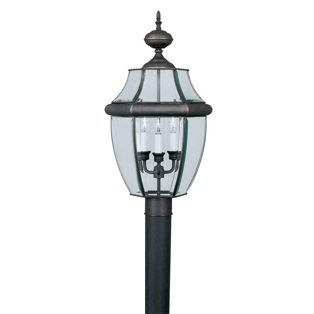 null 1-Light Royal Bronze Outdoor Post Light with Frosted Seeded Glass Panels