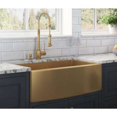 Farmhouse Apron-Front Stainless Steel 36 in. Single Bowl Kitchen Sink in Brass Tone Matte Gold