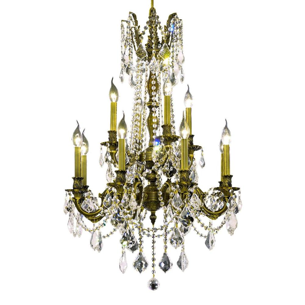 12-Light Antique Bronze Chandelier with Clear Crystal