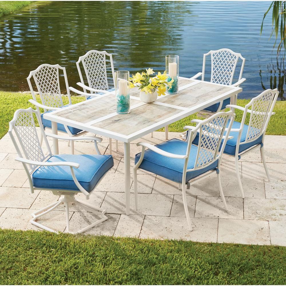 Hampton Bay Alveranda 7 Piece Metal Outdoor Dining Set With Periwinkle  Cushions