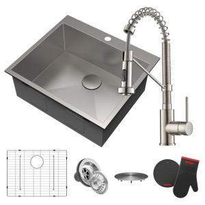 Pax All-in-One Drop-In Stainless Steel 25 in. 1-Hole Single Bowl Kitchen Sink with Bolden Faucet in Stainless Steel