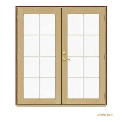 72 in. x 80 in. W-2500 Red Clad Wood Left-Hand 8 Lite French Patio Door w/Unfinished Interior