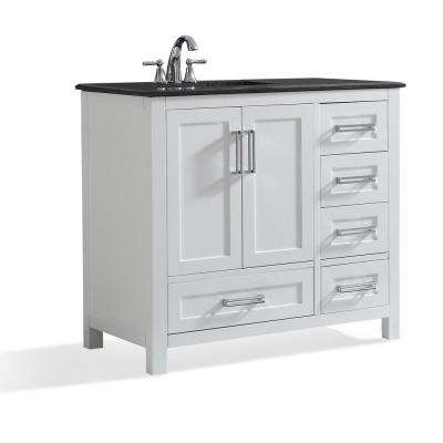 Evan 36 in. W x 21.5 in .D x 34.5 in. H Left Offset Bath Vanity in White with Granite Vanity Top in Black with Basin