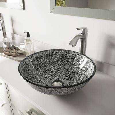 Glass Vessel Bathroom Sink in Titanium and Linus Faucet Set in Brushed Nickel