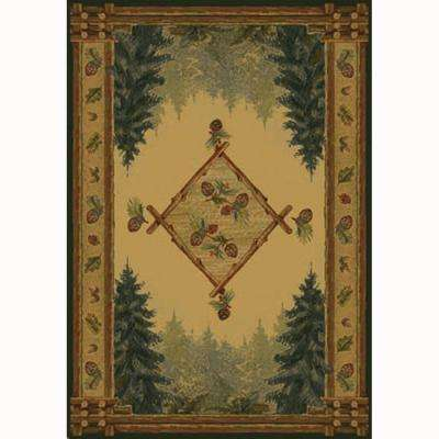 Forest Trail Beige 5 ft. 3 in. x 7 ft. 6 in. Contemporary Lodge Area Rug