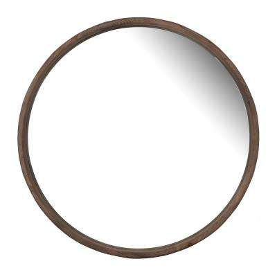 Thayne Round Natural Wood Wall Mirror