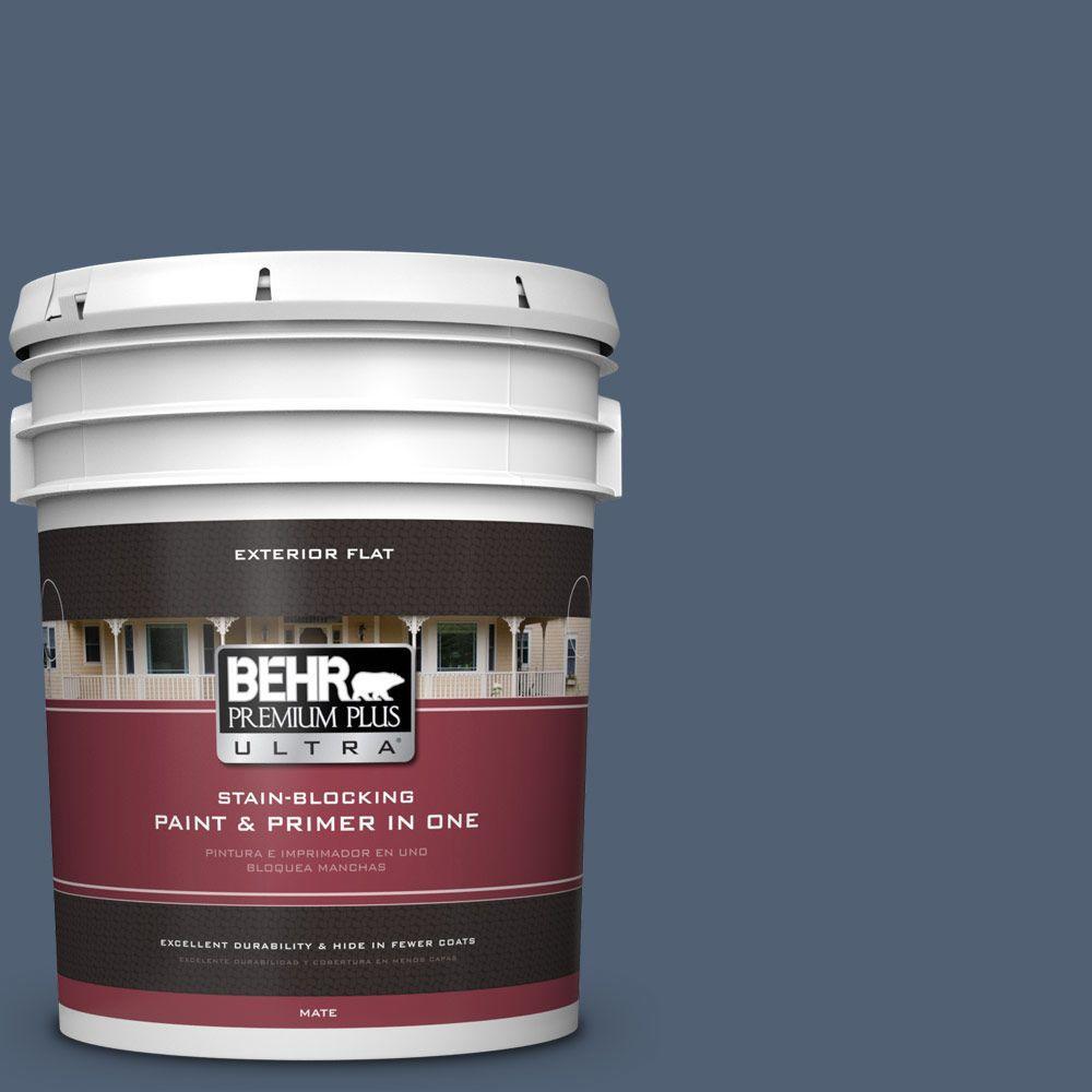 BEHR Premium Plus Ultra 5-gal. #PPU14-19 English Channel Flat Exterior Paint