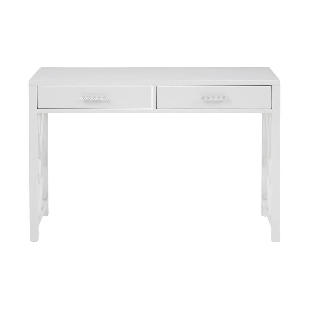Glam Lattice White 2-Drawer Wooden Desk