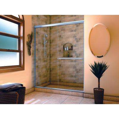 Distinctive 60 in. x 70-1/2 in. Semi-Frameless Sliding Shower Door in Chrome with Towel Bar and Knob Pull