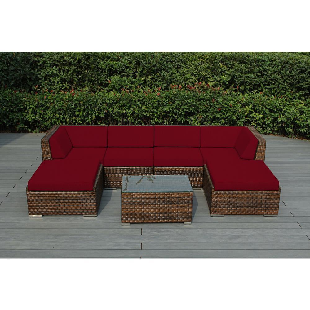 Ohana Mixed Brown 7-Piece Wicker Patio Seating Set with Sunbrella Jockey Red Cushions
