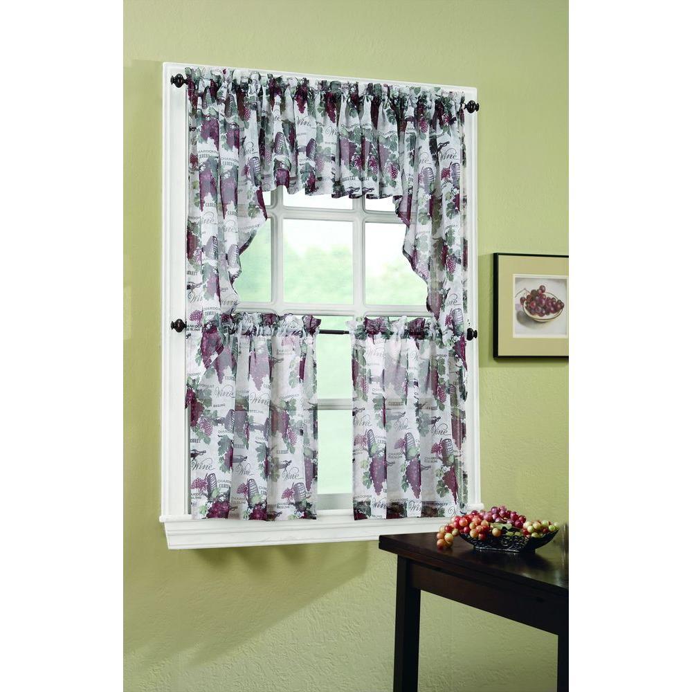 Merlot Wine Country Printed Textured Sheer Curtain