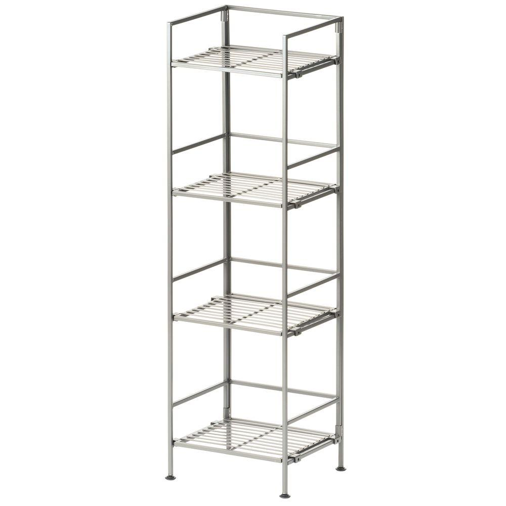 Seville Clics Satin Pewter 4 Tier Iron Square Tower Shelving