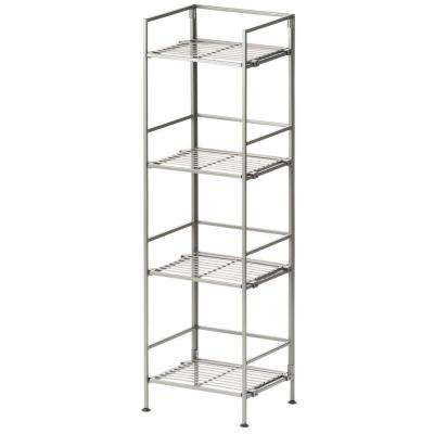 Satin Pewter 4-Tier Iron Square Tower Shelving