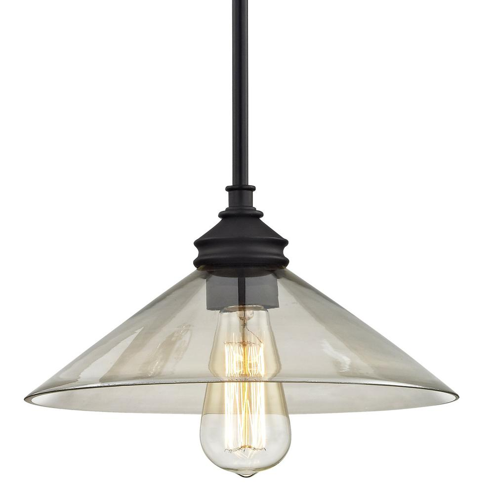 Fifth and Main Lighting Tavern 1-Light Aged Bronze with Clear Plated Glass Mini Pendant