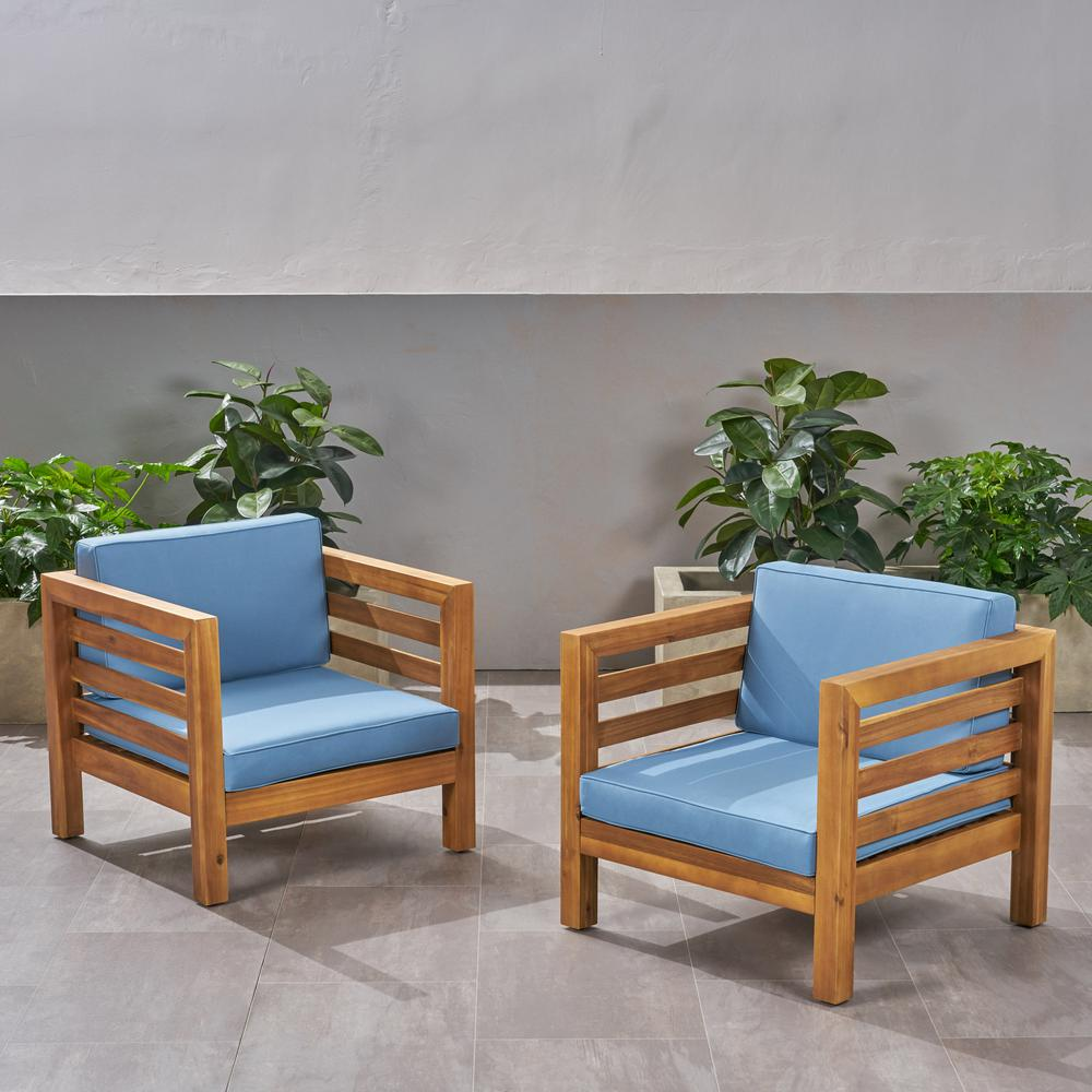 Noble House Oana Teak Brown Removable Cushions Wood Outdoor Lounge Chairs With Blue Cushions 2 Pack 67909 The Home Depot