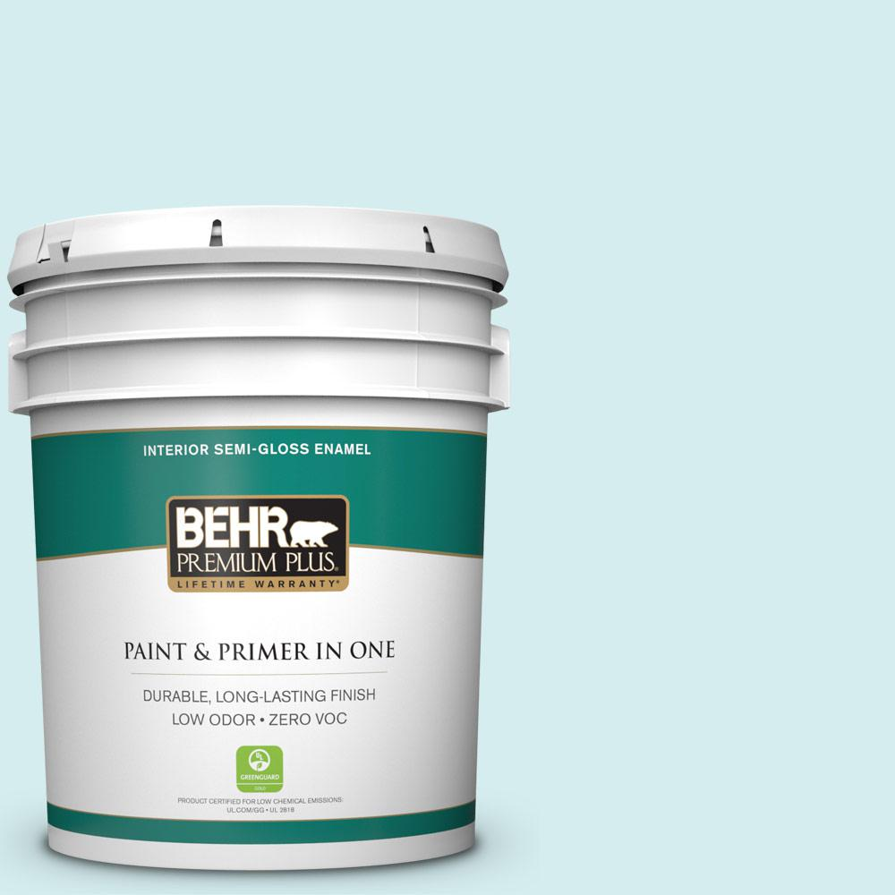 BEHR Premium Plus 5-gal. #520A-1 Lakeside Mist Zero VOC Semi-Gloss Enamel Interior Paint