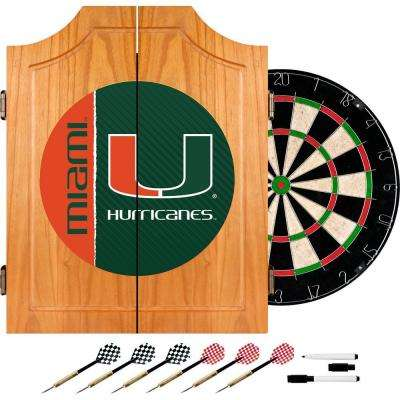 University of Miami Text 20.5 in. Wood Dart Cabinet Set