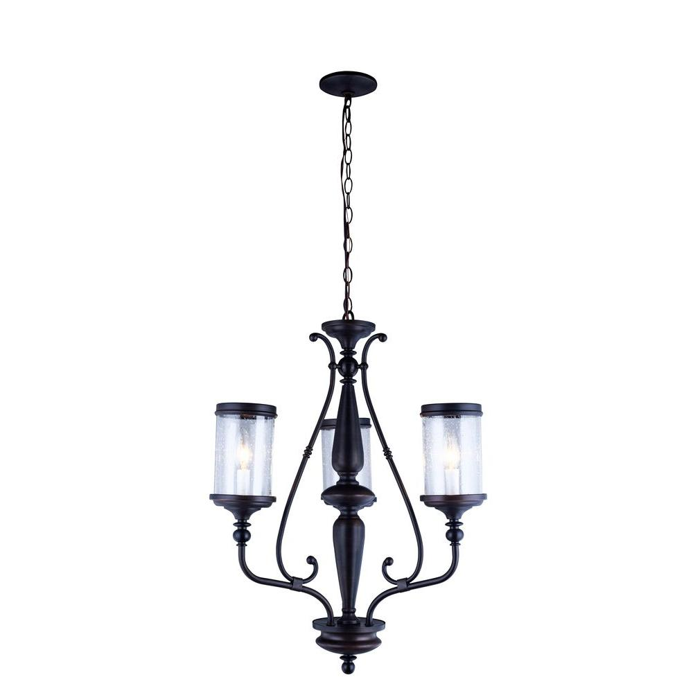 World Imports Estella Collection 3-Light Oil-Rubbed Bronze Chandelier with Clear Seeded Glass Shades