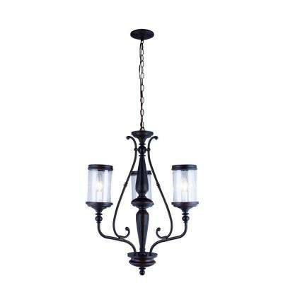Estella Collection 3-Light Oil-Rubbed Bronze Chandelier with Clear Seeded Glass Shades