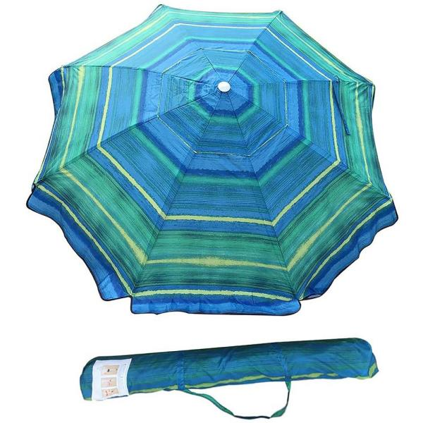 7 ft. Telescoping Steel Pole Beach Umbrella with Sand Anchor, Push Button Tilt and Carry Bag in Green Stripe