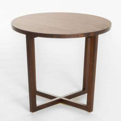 Rich Mahogany Brown Round Wooden End Table