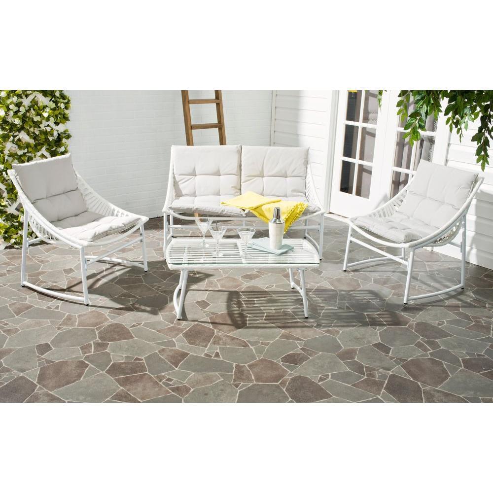 Berkane 4-Piece Patio Seating Set with Gray Cushions