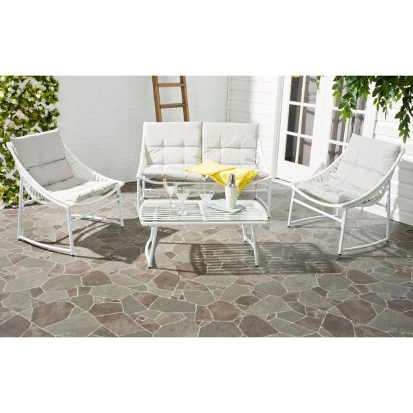 Berkane White 4-Piece Wood Patio Conversation Set with Gray Cushions