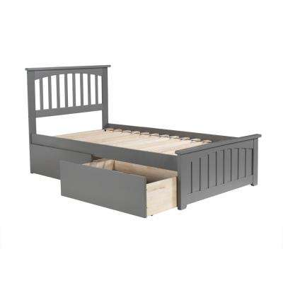 Mission Twin Platform Bed with Matching Foot Board with 2 Urban Bed Drawers in Grey