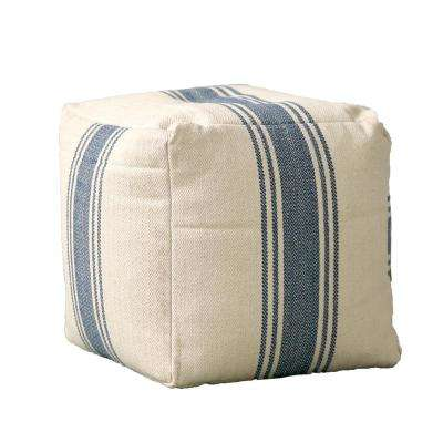 16 in. Blue Stripe Pouf