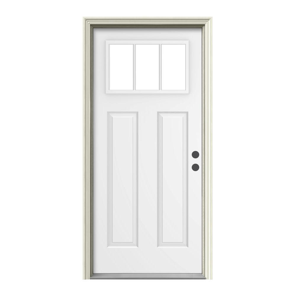 36 in. x 80 in. 3 Lite Craftsman White Painted Steel