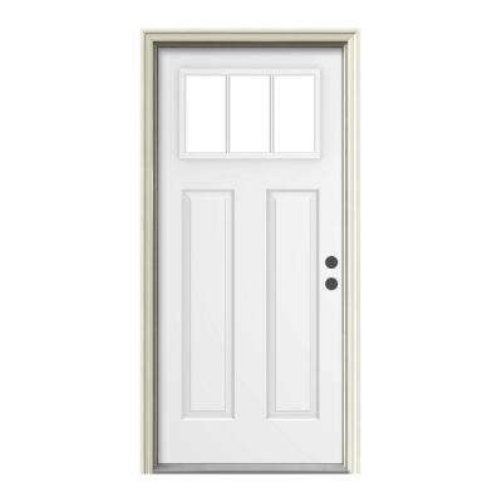Craftsman 3 Lite Painted Steel Prehung Front Door