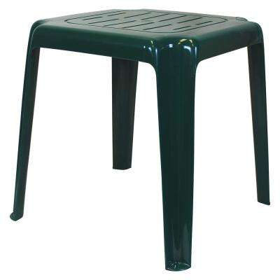 17 in. Hunter Green Stackable Slotted Plastic Outdoor Side Table