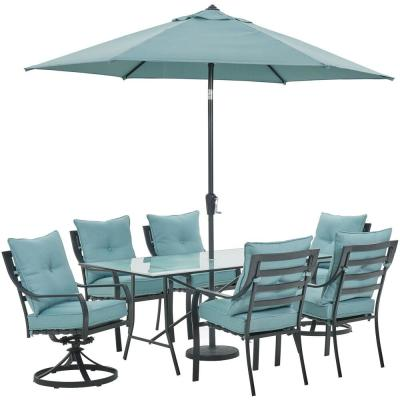 Lavallette 7-Piece Steel Outdoor Dining Set with Ocean Blue Cushions, Chairs, Swivel Rockers, Table, Umbrella and Base