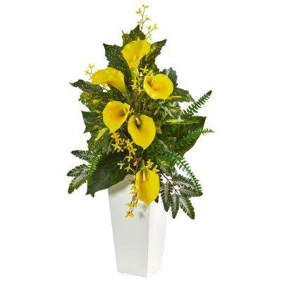 39 in. Indoor Calla Lily, Forsythia and Mixed Greens Artificial Arrangement