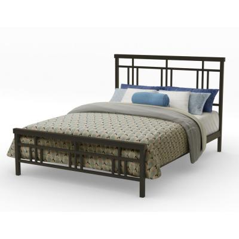 Cottage Textured Dark Brown Metal Queen Size Bed