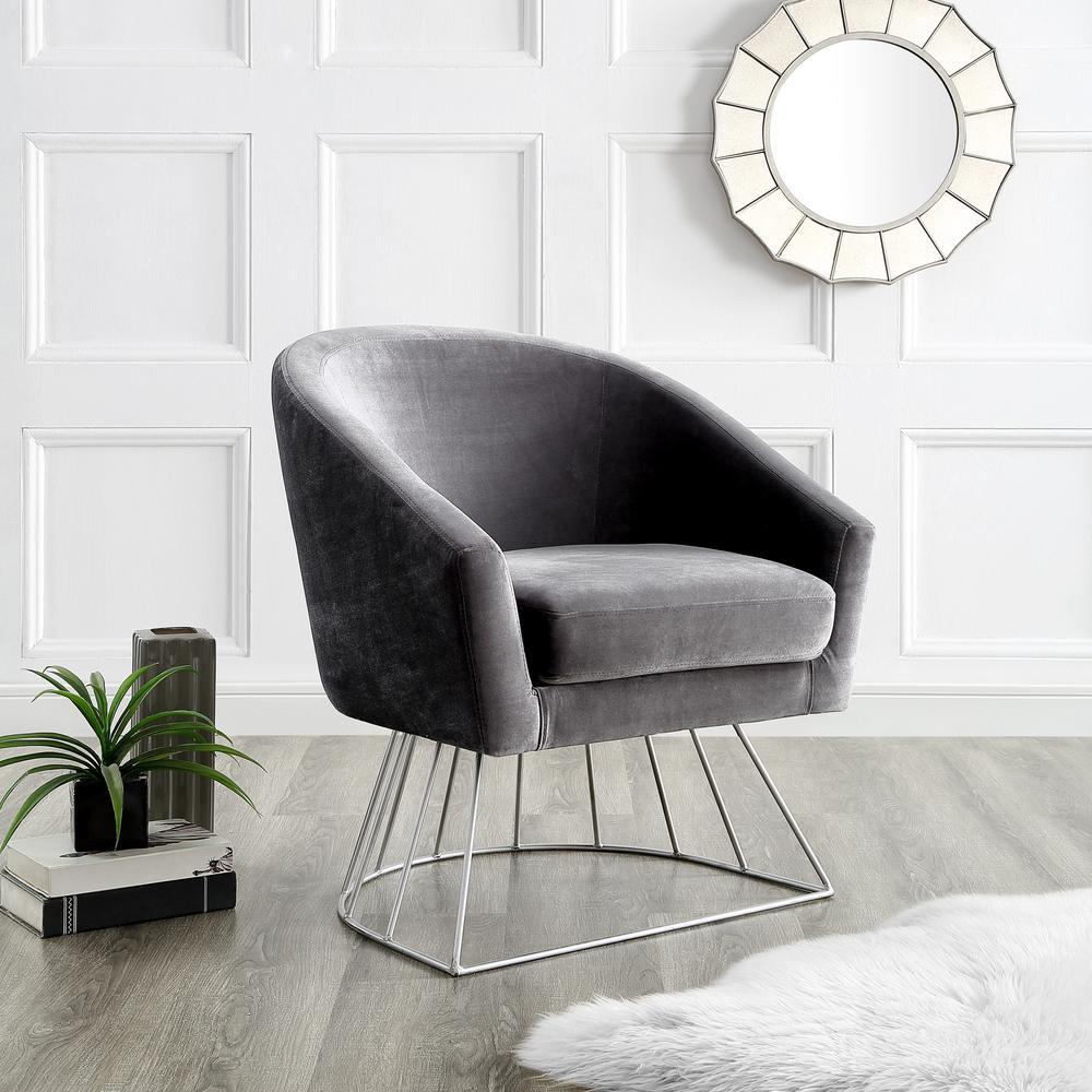 Inspired Home Esmeralda Velvet Grey/Silver Modern Contemporary Barrel Accent
