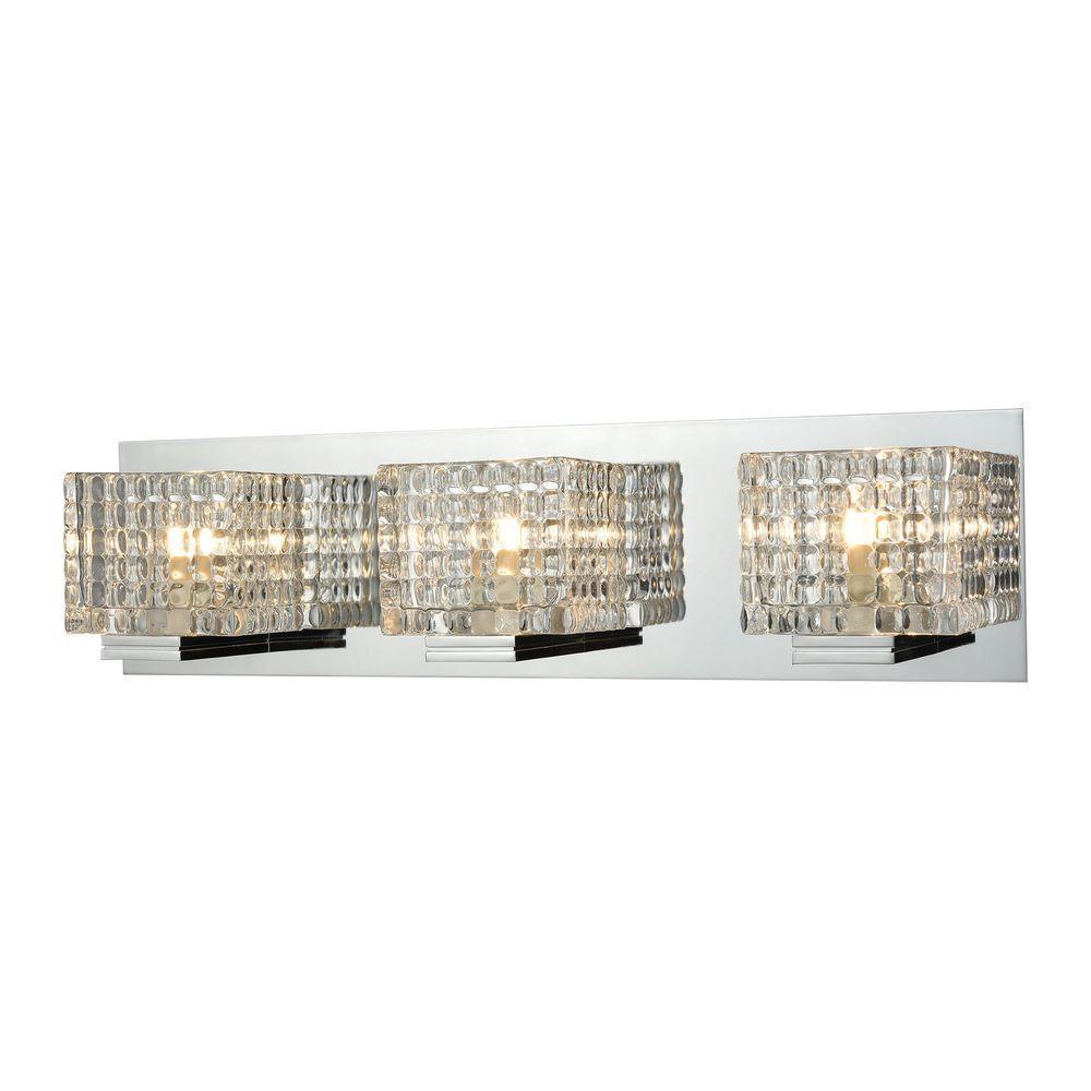 Vanity Light Clear Glass : Titan Lighting Chastain 3-Light Chrome and Clear Glass Vanity Light-TN-93072 - The Home Depot