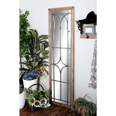 Rectangular Brown Decorative Wall Mirror with Iron Geometric Shapes Overlay